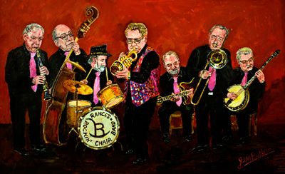 "Left to Right: Derek ""Green Fingers"" Scofield on clarinet, ""Reverend"" Mike Brewerton on bass, Henry ""Asbo"" Harrison on drums, Dave ""Earl of Flitwick"" Rance, John ""Prince of Darkness"" Bartlett on guitar, ""Captain"" Brian Web on trombone and Doug ""Hari Kari"" Parry on banjo."