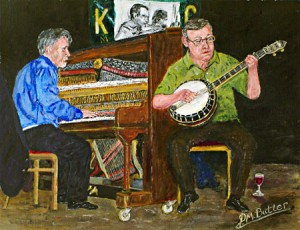 """""""Honky Tonk Time"""". Peter's portrait of Emile and Eric"""