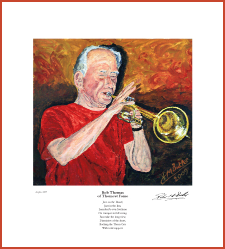 Jazz&Jazz Fine Art Print of Bob Thomas. The poem was aimed at keeping live jazz in the village pub.