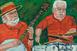 Jazz painting of Roger Nicholls on banjo and Pat Elms on drums