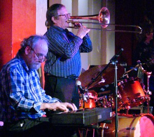 Martin on keyboard, John Finch on trombone