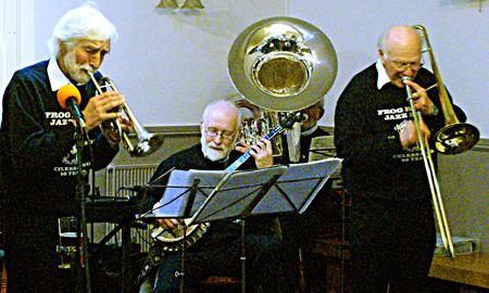 John Whitehead (cornet), Nick Singer (banjo), and John Jeans (trombone)