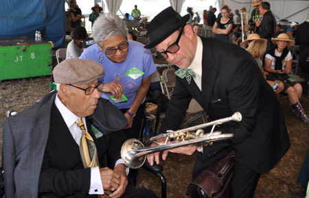 Lionel Ferbos with Dukes of Dixieland leader Kevin Clarke
