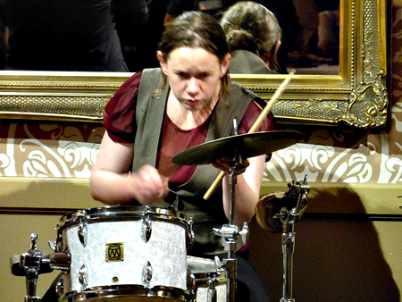 Band Leader Lizy on Drums