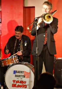 Graham at The 100 Club with Barry Martyn's Young Bloods, 2010.