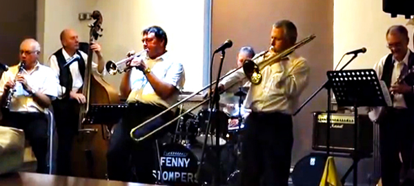 Great musicians one and all: Dennis Vick, clarinet; Dave Arnold, bass; Paul Roberts, trumpet; Ken Joiner, drums; Richard Leach, trombone; and Brian Vick, banjo/guitar