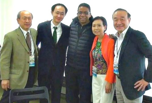 Yoshio and Kioki with Herbie Hancock, UNESCO Goodwill Ambassador (centre) and UNESCO representatives