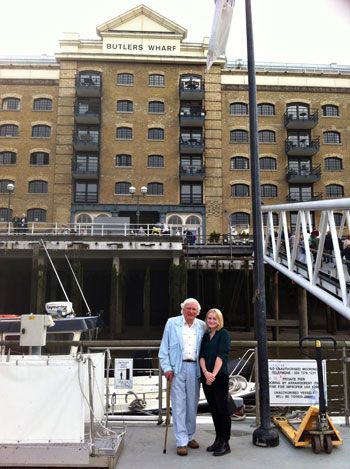 Couldn't resist this photo: granddaughter Leigh-Anna and myself in front of, yes, Butler's Warf.