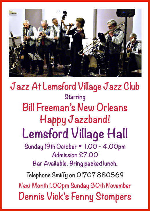 Next at Lemsford Jazz Club: Bill Freeman's New Orleans Happy