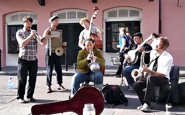 Shot Gun Jazz Band live on Royal Street in New Orleans (courtesy of erichapjames
