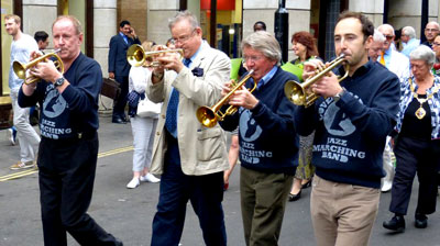 On parade with the Covent Garden Jazz Marching Band in June, 2015 © Peter M Butler, Jazz&Jazz)