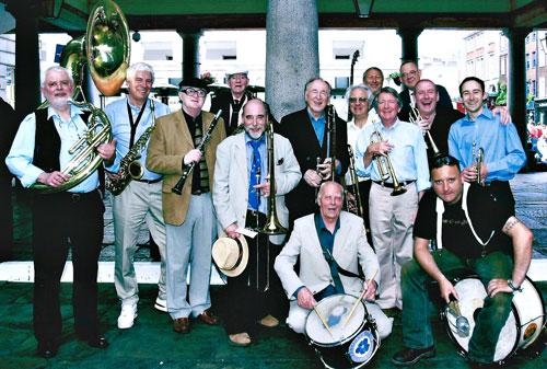 Left to right: John Beecham, Eric Gilchrist, John Evans, John Barnes, Tim Wacher, Chris Barber, Don Cook, Phil Brown, Alan Bradley, John Keen, Chris Hodgkins, Digby Fairweather, John Wacher, Emile Martin, June 2006.