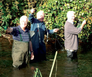 Pranks in the River Colne, (left to right) Philip. me and Bob during a Lemsford river bank clearance.