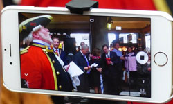 Laurence captured this image of the Town Cryer and the band on my iPhone Lens Camera,