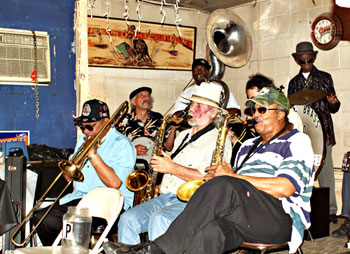 "Treme Band with ""Uncle"" Lionel Batiste on drums."
